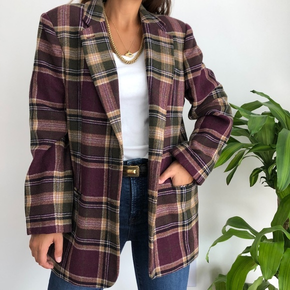 Autumn Checkered Coat Jacket Size MS Vintage Beige Checked Wool And Cotton Jacket
